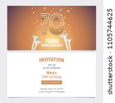 70 years anniversary invitation ... | Shutterstock .eps vector #1105744625
