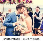 young couple kissing at wedding ... | Shutterstock . vector #1105746836