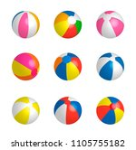 beachballs set  isolated on... | Shutterstock .eps vector #1105755182