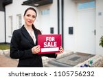 real estate agent with sign for ... | Shutterstock . vector #1105756232