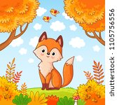 the fox sits in a clearing in...   Shutterstock .eps vector #1105756556