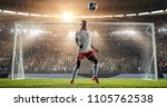 soccer player is juggling a... | Shutterstock . vector #1105762538