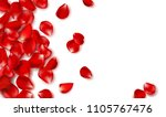red rose petals and beads on... | Shutterstock .eps vector #1105767476