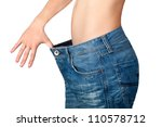 Weight Loss Woman  Isolated On...