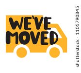 we've moved. badge  icon. flat... | Shutterstock .eps vector #1105790345