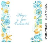 watercolor border with... | Shutterstock . vector #1105790822