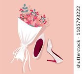 brides wedding shoes with a... | Shutterstock .eps vector #1105793222
