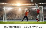 soccer player is trying to... | Shutterstock . vector #1105794422
