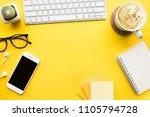 top view of office desk table... | Shutterstock . vector #1105794728