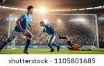 attacker scores a goal  sending ... | Shutterstock . vector #1105801685