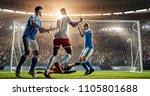 attacker scores a goal  sending ... | Shutterstock . vector #1105801688