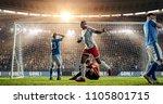attacker scores a goal  sending ... | Shutterstock . vector #1105801715