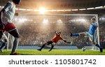 attacker scores a goal  sending ... | Shutterstock . vector #1105801742