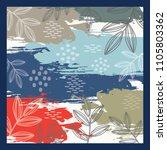 natural leaf scarf pattern   Shutterstock .eps vector #1105803362