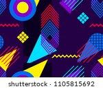 memphis seamless pattern.... | Shutterstock .eps vector #1105815692