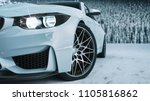 white car in the snow. 3d... | Shutterstock . vector #1105816862