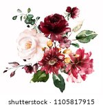 watercolor flowers. floral... | Shutterstock . vector #1105817915
