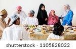 muslim family having a ramadan... | Shutterstock . vector #1105828022
