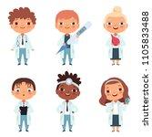 children in the doctor... | Shutterstock .eps vector #1105833488