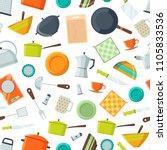 vector kitchen utensils flat... | Shutterstock .eps vector #1105833536