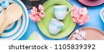 tableware dish set on blue... | Shutterstock . vector #1105839392