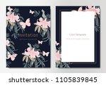 botanical wedding invitation... | Shutterstock .eps vector #1105839845
