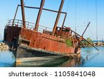 rusty steel hulled ship | Shutterstock . vector #1105841048