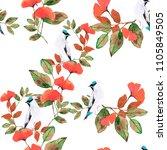 garden with birds watercolor... | Shutterstock . vector #1105849505