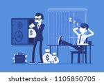 safecracking man. masked thief... | Shutterstock .eps vector #1105850705
