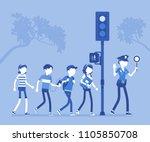 safe road crossing. policewoman ... | Shutterstock .eps vector #1105850708