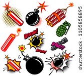 set of comic style bombs ... | Shutterstock .eps vector #1105858895
