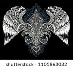 vector illustration of winged... | Shutterstock .eps vector #1105863032