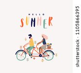 summer tandem bike with couple... | Shutterstock .eps vector #1105866395