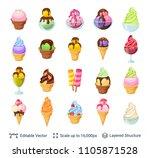 ice cream dessert set. 24 items ... | Shutterstock .eps vector #1105871528