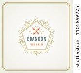 restaurant logo design vector... | Shutterstock .eps vector #1105899275