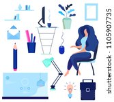 flat girl. business... | Shutterstock .eps vector #1105907735