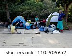 refugees and migrants rest in... | Shutterstock . vector #1105909652