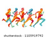 group of colorful runners ... | Shutterstock . vector #1105919792
