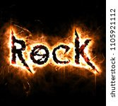 rock poster with burning design | Shutterstock . vector #1105921112