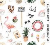 seamless pattern with summer... | Shutterstock . vector #1105930745