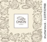 background with onion  rings ...   Shutterstock .eps vector #1105933988