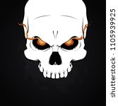 a white human skull with... | Shutterstock .eps vector #1105939925