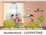 annoyed and angry father with... | Shutterstock .eps vector #1105947068
