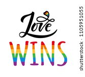 love wins lettering with... | Shutterstock . vector #1105951055