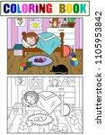 kids on the theme of childhood... | Shutterstock .eps vector #1105953842