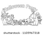 halloween party. hand drawing... | Shutterstock .eps vector #1105967318