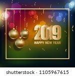 happy new year 2019 | Shutterstock .eps vector #1105967615