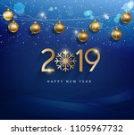 happy new year 2019 | Shutterstock .eps vector #1105967732