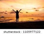 silhouette of asian girl on the ... | Shutterstock . vector #1105977122