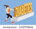 healthy woman breaking the word ... | Shutterstock .eps vector #1105978046